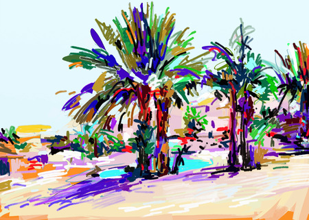 etude: original digital painting of Cyprus colorful landscape with palms, vector illustration