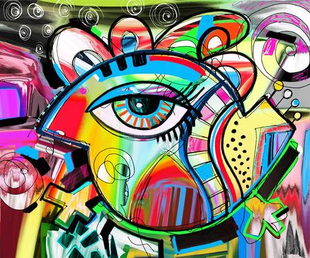 Original-Abstraktion Zusammensetzung von Doodle Vogel, digitale Malerei Plakatdruck, Muster, Vektor-Illustration Vektorgrafik