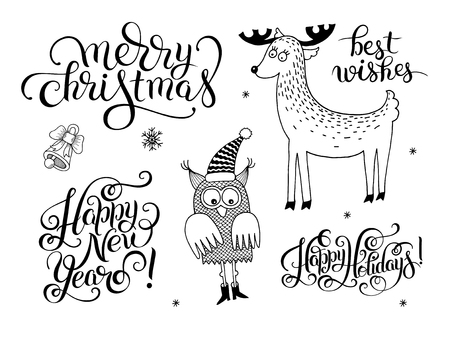 black and white christmas collection, set of lettering inscription - Happy New Year, and holidays animals, vector illustration