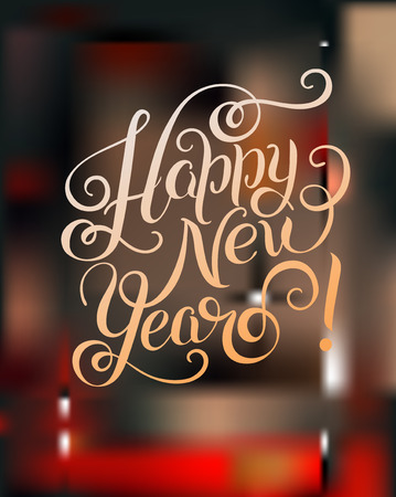congratulate: Happy New Year hand lettering congratulate inscription, Christmas greeting card on blured background, calligraphy vector illustration