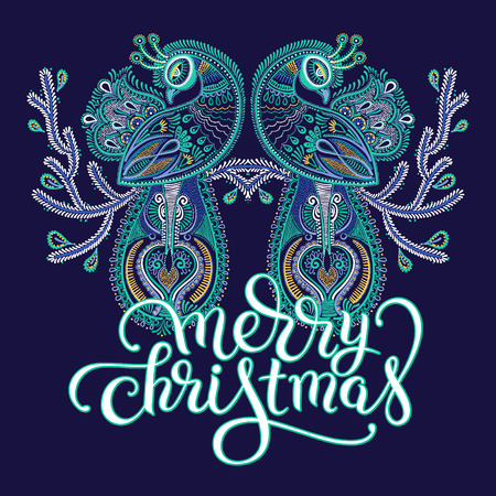 christmas blue: winter blue violet ethnic folk art of peacock bird with flowering branch design and lettering inscription merry christmas, vector dot painting illustration