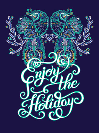 two birds: Enjoy the Holiday brush hand lettering inscription with two birds, modern christmas calligraphic design, vector illustration