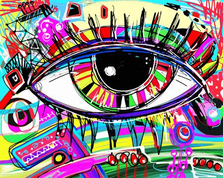 originele abstracte digitale schilderen van het menselijk oog, kleurrijke samenstelling in de hedendaagse moderne kunst, perfect voor interieur, pagina decoratie, web en andere, vector illustratie Vector Illustratie