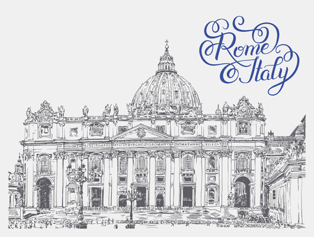basilica: St. Peters Cathedral, Vatican with original hand lettering inscription Rome Italy. Saint Pietro Basilica, vector illustration