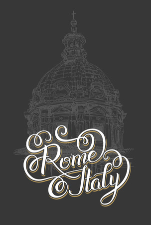 basilica: original hand lettering inscription Rome Italy - capital city typography written design with sketch drawing of old basilica, brush calligraphy vector illustration