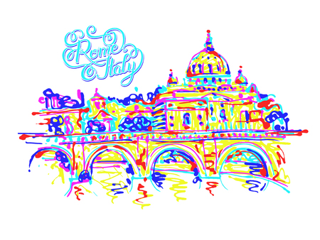 famous place: famous place of Rome Italy, original drawing in rainbow colours contemporary art style with hand lettering inscription for travel hobby, vector illustration Illustration