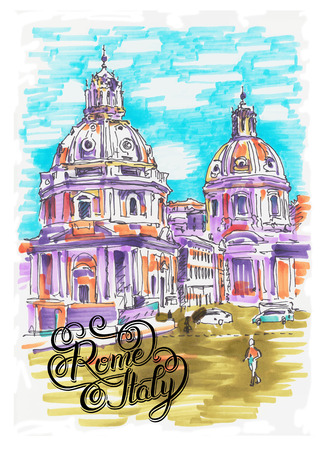 european: original marker painting of Rome Italy cityscape with hand lettering for your travel card design, basilica drawing, vector illustration