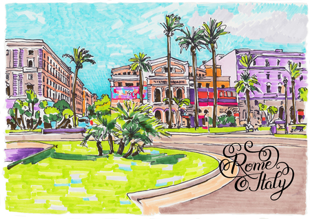 european: original marker painting of Rome Italy cityscape with hand lettering inscription for your travel card design, vector illustration