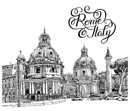 basilica: original black and white digital drawing of Rome Italy cityscape with hand lettering inscription for your travel card design, basilica sketch, vector illustration