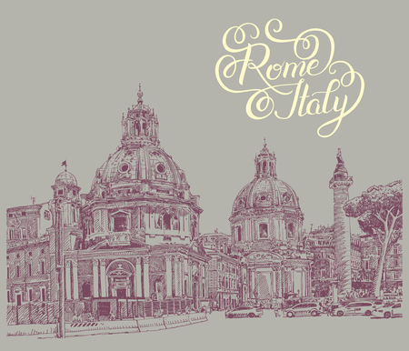 roman catholic: original digital drawing of Rome Italy cityscape with lettering inscription for your travel card design, basilica sketch, vector illustration Illustration