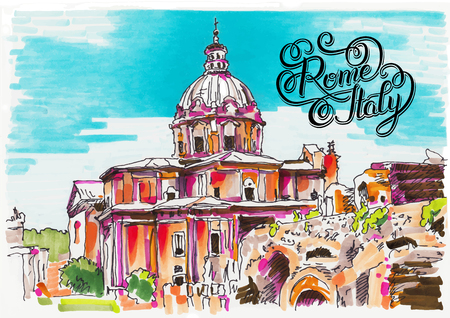 rome: original marker painting of Rome Italy cityscape with hand lettering for your travel card design, basilica drawing, vector illustration