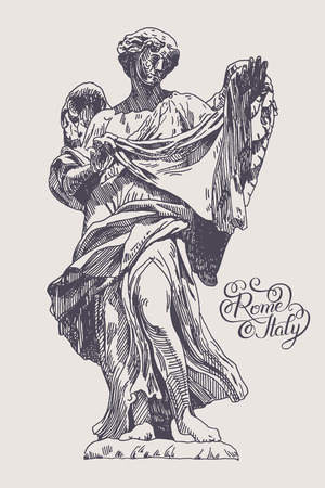 angelo: original sketch ink drawing of marble statue of angel from the SantAngelo Bridge in Rome, Italy with hand lettering inscription, vector illustration Illustration