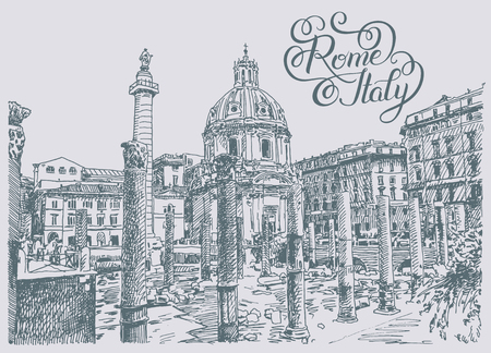 italian culture: original sketch hand drawing of Rome Italy famous cityscape with hand lettering inscription, travel card, vector illustration Illustration
