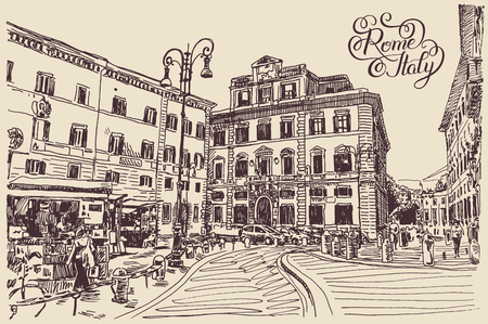 original sketch hand drawing of Rome Italy famous cityscape with hand lettering inscription, travel card, vector illustration  イラスト・ベクター素材