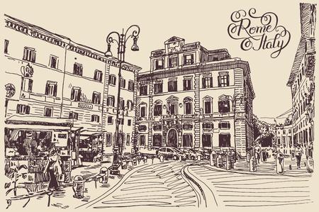Dessin d'esquisse originale dessin de Rome Italie célèbre paysage urbain avec lettrage à la main inscription, carte de voyage, illustration vectorielle