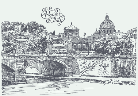 pencil drawings: original sketch hand drawing of Rome Italy famous cityscape with hand lettering inscription, travel card, vector illustration Illustration
