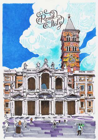 maria: original marker painting of Rome Italy cityscape with hand lettering inscription for your travel card design, basilica papale santa maria maggiore
