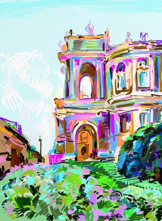 acrylic: original digital painting of opera theater, Odessa, Ukraine, contemporary art sketch drawing