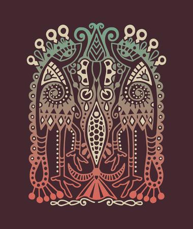 ukrainian traditional: original ethnic pattern with birds and flower, ukrainian traditional geometric design, vector illustration