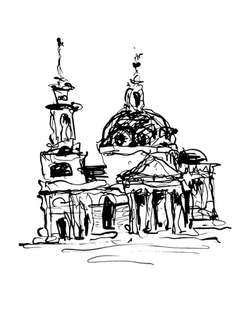 historical building: black and white original sketch drawing of historical building from Kyiv, Ukraine, vector illustration Illustration