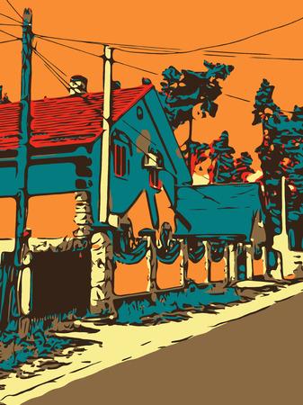 composition art: Ukrainian village graphic artwork with a road and house, digital art composition, vector illustration
