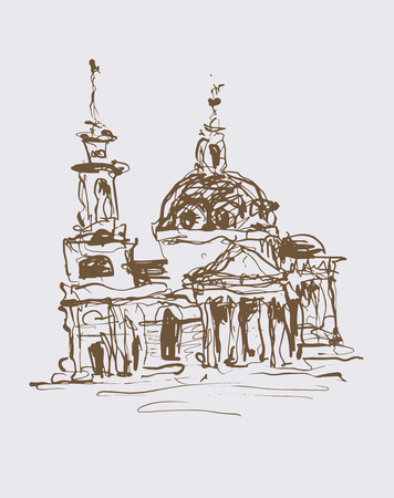 historical building: original sketch drawing in sepia color of historical building from Kyiv, Ukraine, vector illustration