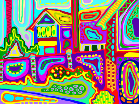 composition art: original artwork of decorative rural landscape with houses and garden in bright colors, vector illustration