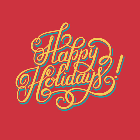 hand writing: calligraphic Happy Holidays hand writing inscription for greeting cards, vector illustration