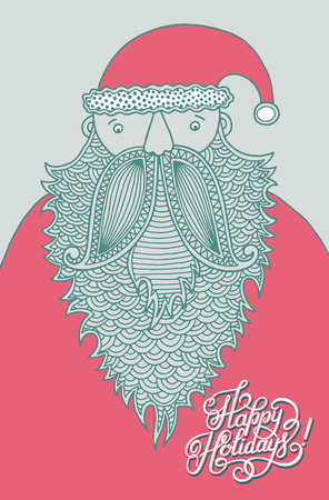 beard man: original hipster santa claus, modern graphic style, with hand lettering inscription Happy Holidays! , vector illustration