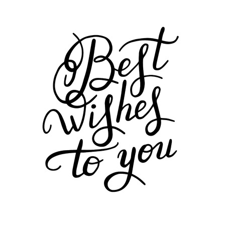 writting: best wishes hand lettering inscription handwritten quote, calligraphy writting, vector illustration