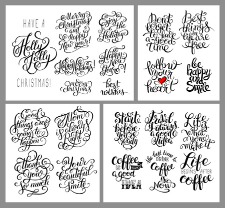 romantic: black and white inspirational phrase set, positive lettering composition collection, t-shirt print design, typographic quote poster, calligraphy vector illustration Illustration