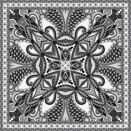 sarong: black and white authentic silk neck scarf or kerchief square pattern design in ukrainian style for print on fabric, vector illustration Illustration