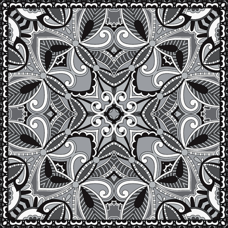 silk scarf: black and white authentic silk neck scarf or kerchief square pattern design in ukrainian style for print on fabric, vector illustration Illustration