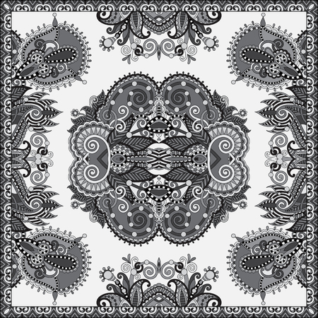 hanky: black and white authentic silk neck scarf or kerchief square pattern design in ukrainian style for print on fabric, vector illustration Illustration