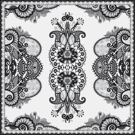robo: black and white authentic silk neck scarf or kerchief square pattern design in ukrainian style for print on fabric, vector illustration Vectores
