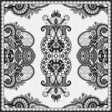 stole: blanco y negro auténtico pañuelo de cuello de seda o de diseño del modelo del cuadrado del pañuelo en el estilo ucraniano para imprimir sobre tela, ilustración vectorial Vectores