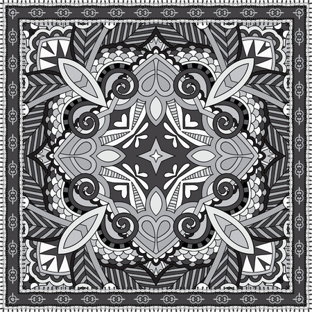 headscarf: black and white authentic silk neck scarf or kerchief square pattern design in ukrainian style for print on fabric, vector illustration Illustration