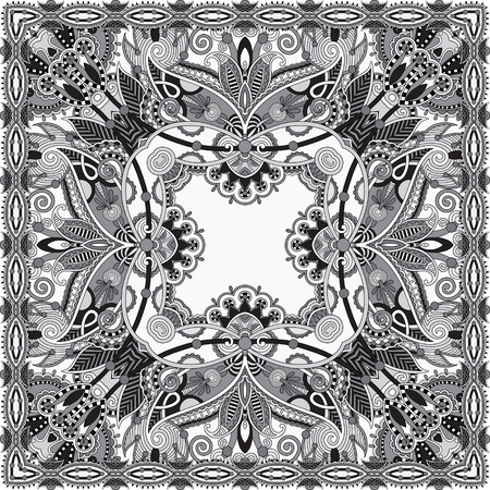 kerchief: black and white authentic silk neck scarf or kerchief square pattern design in ukrainian style for print on fabric, vector illustration Illustration