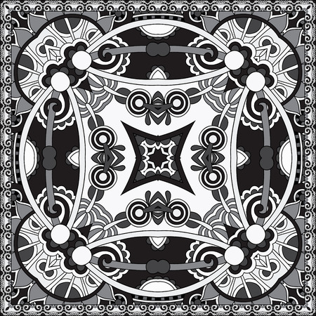 black and white authentic silk neck scarf or kerchief square pattern design in ukrainian style for print on fabric, vector illustration Illustration