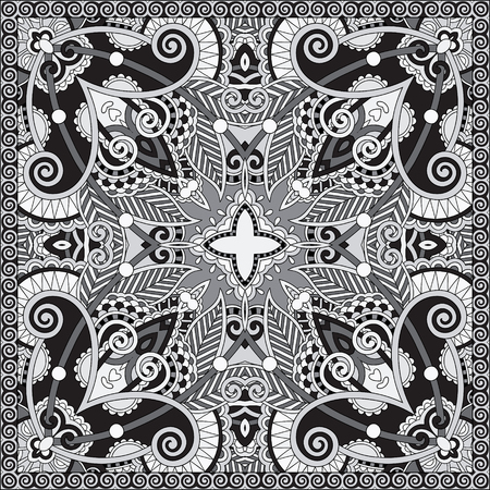neck scarf: black and white authentic silk neck scarf or kerchief square pattern design in ukrainian style for print on fabric, vector illustration Illustration