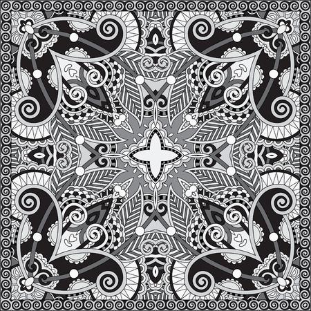 robo: blanco y negro aut�ntico pa�uelo de cuello de seda o de dise�o del modelo del cuadrado del pa�uelo en el estilo ucraniano para imprimir sobre tela, ilustraci�n vectorial Vectores