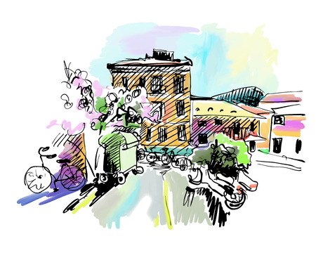 illustration technique: sketch drawing of Italy village landscape, black ink and watercolor technique, vector illustration Illustration