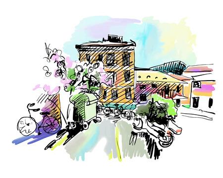 Skizze Zeichnung von Italien Dorflandschaft, schwarze Tinte und Aquarelltechnik, Vektor-Illustration Vektorgrafik