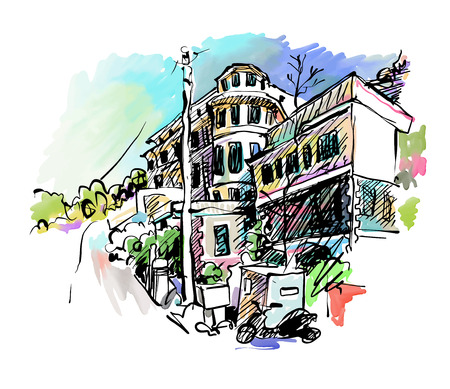 watercolor technique: sketch drawing of Italy village landscape, black ink and watercolor technique, vector illustration Illustration