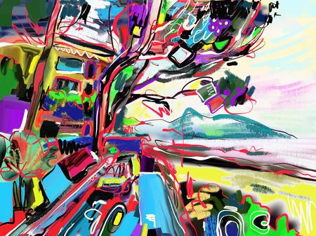 originale peinture numérique abstraite du paysage italien rural, marin marine, montagnes, ciel, arbres et bâtiments, affiche pour impression, illustration vectorielle Vecteurs
