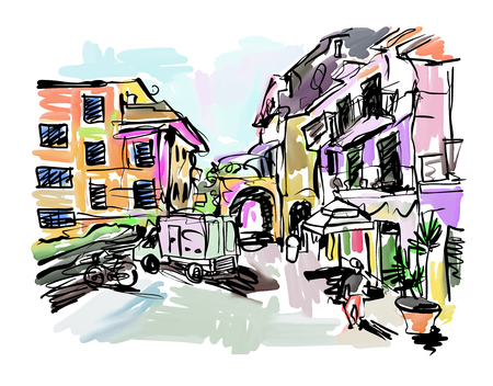 sketch drawing of Italy village landscape, black ink and watercolor technique, vector illustration