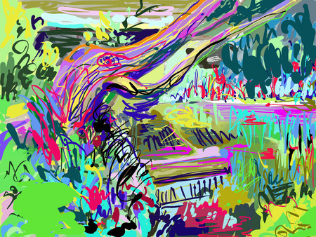 plein air digitale Malerei von Sommerlandschaft im Park, modernen Impressionismus, Vektor-Illustration