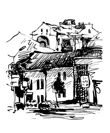 original black and white digital sketch of Kyiv, Ukraine town landscape, pleinair drawing, vector illustration