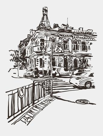 avenue: original digital sketch of Kyiv, Ukraine town landscape, pleinair drawing, vector illustration
