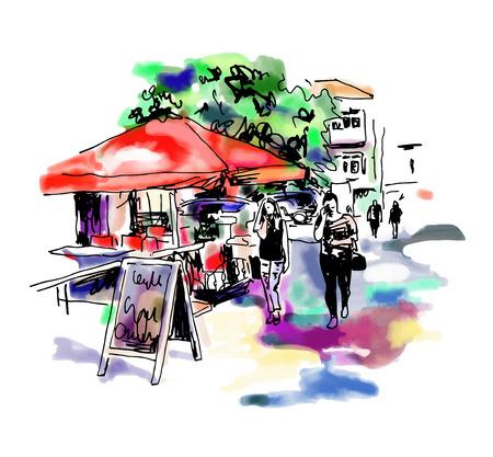 original digital sketch watercolor of Kyiv street cafe with people and umbrella, Ukraine town landscape, pleinair drawing, vector illustration Illustration